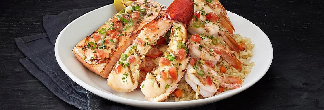 Fire-Grilled Lobster, Shrimp and Salmon