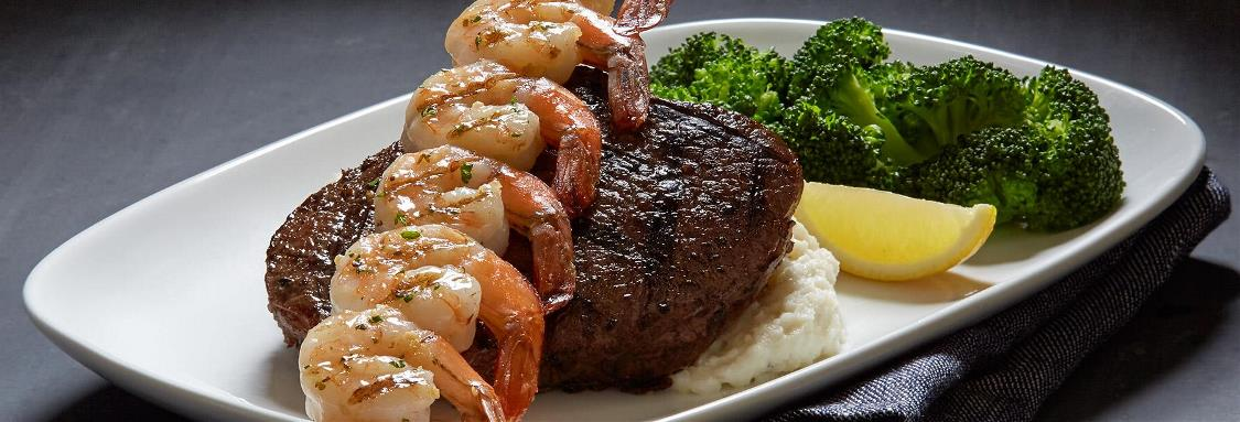 Fire-Grilled Peppercorn Sirloin and Shrimp