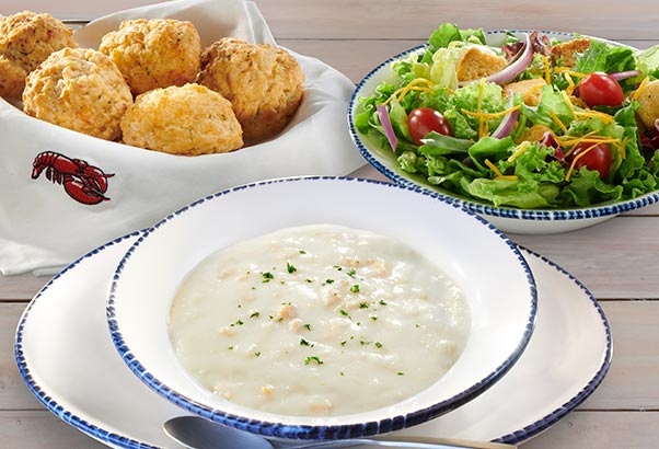 Soup, Salad and biscuits