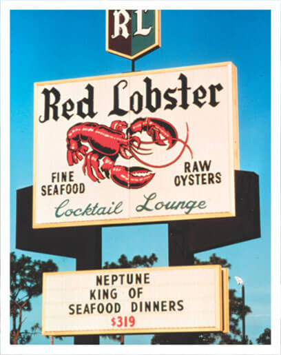 Photograph of a Red Lobster restaurant vintage marquee, circa 1968